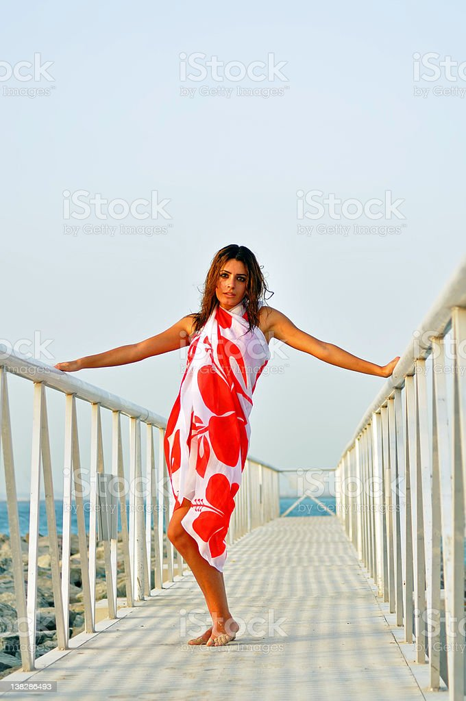 Woman on the moorage royalty-free stock photo