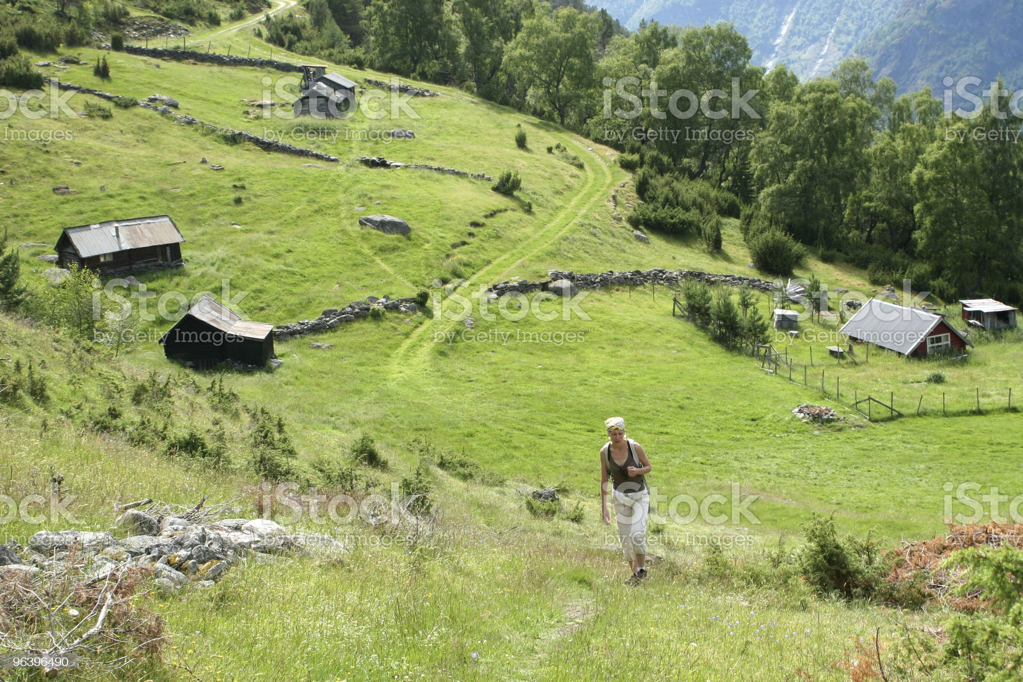 Woman on the mountain route royalty-free stock photo