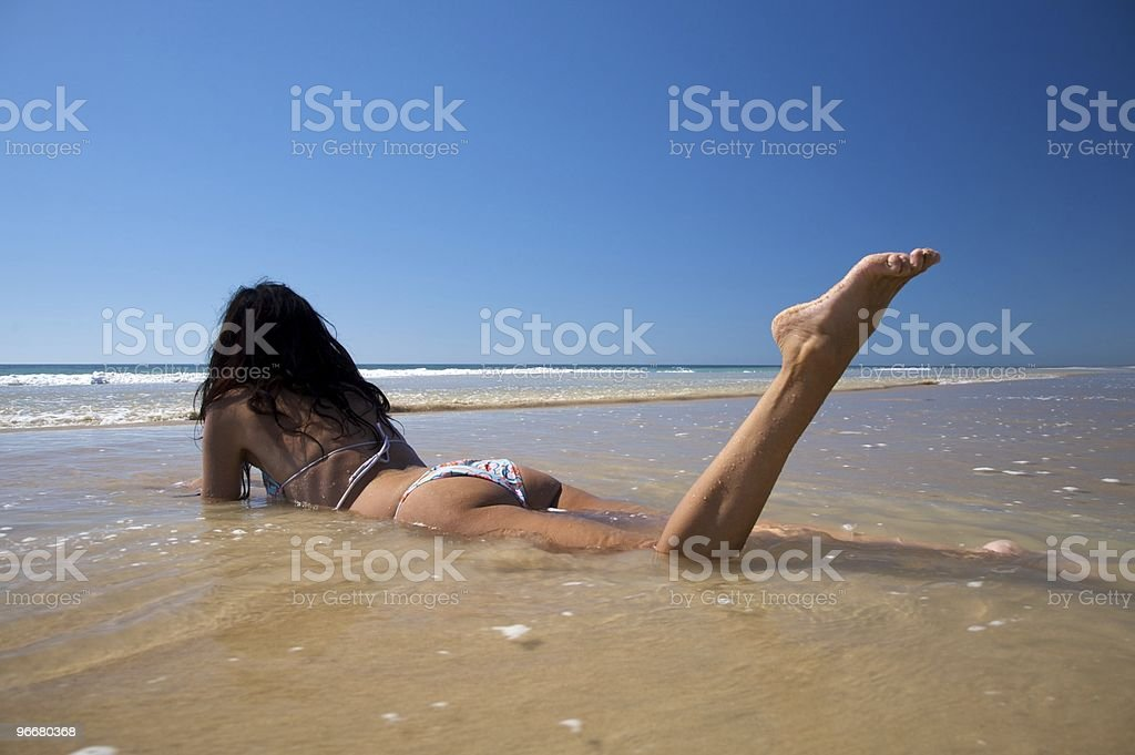 woman on the ocean royalty-free stock photo