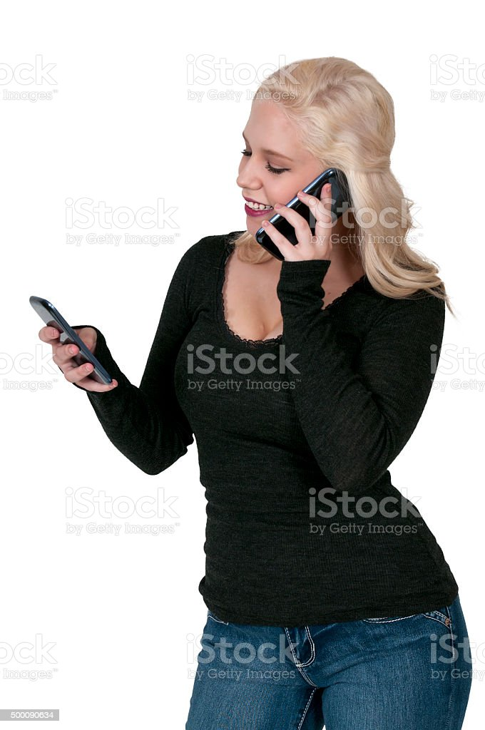 Woman on the Phone stock photo