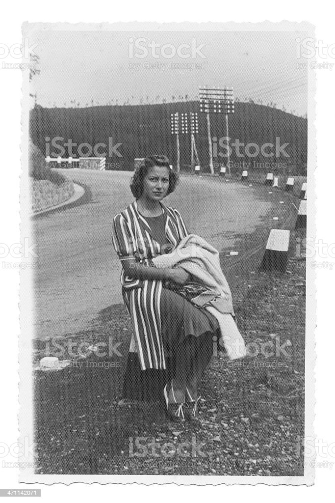 Woman on the road in 1931 stock photo