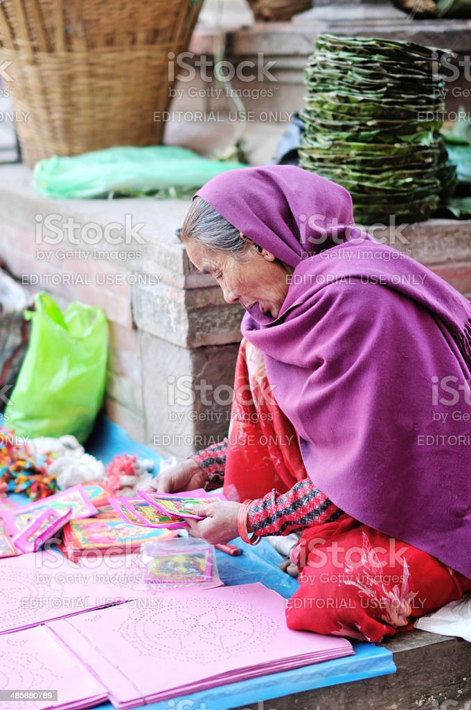 Woman on the street in Nepal royalty-free stock photo