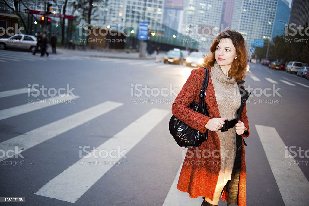 Woman on the street royalty-free stock photo