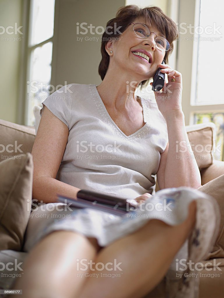 Woman on the telephone royalty-free stock photo