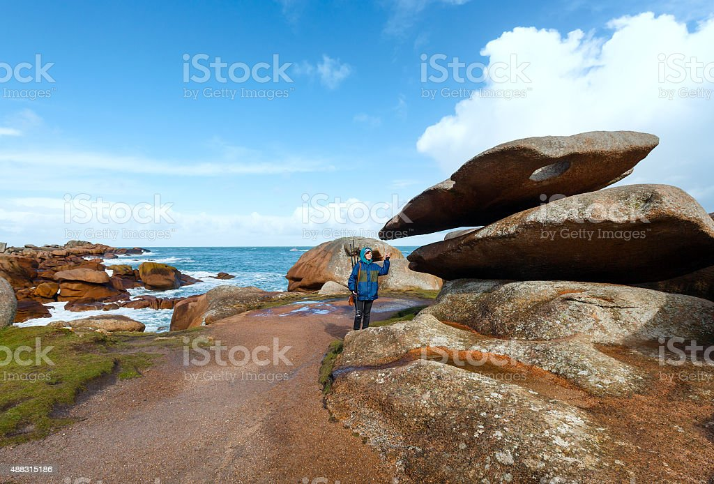 Woman on Tregastel coast  (Brittany, France) stock photo