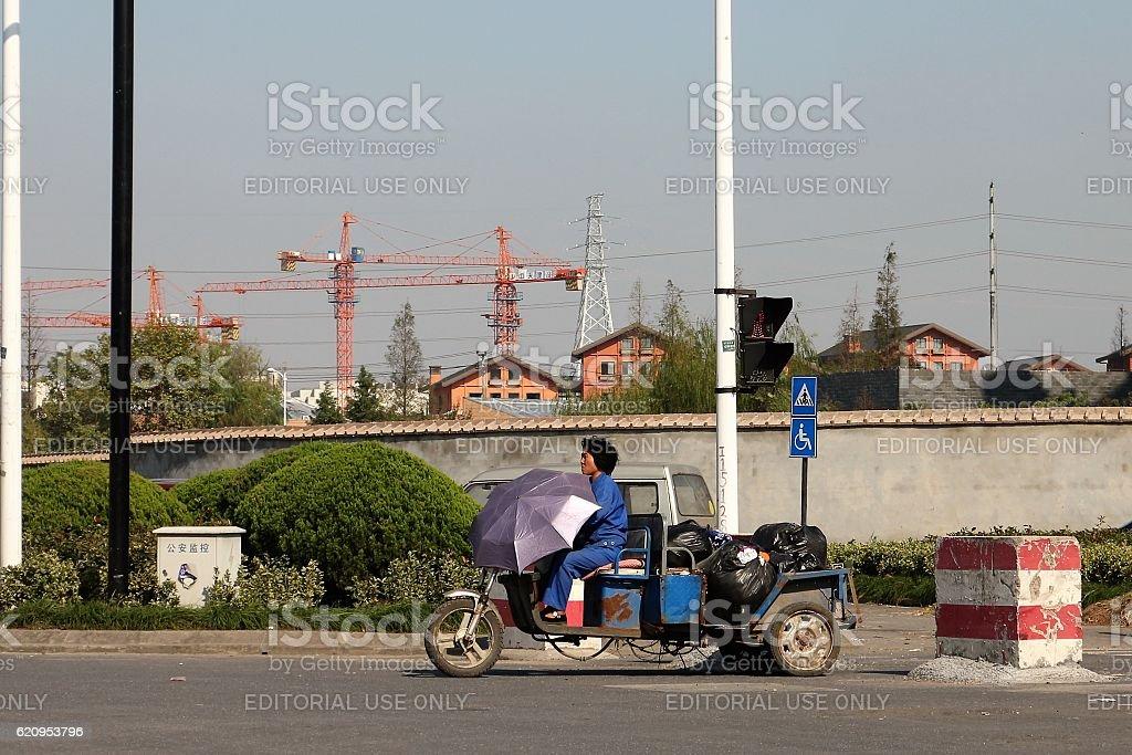 Woman on Trike stock photo