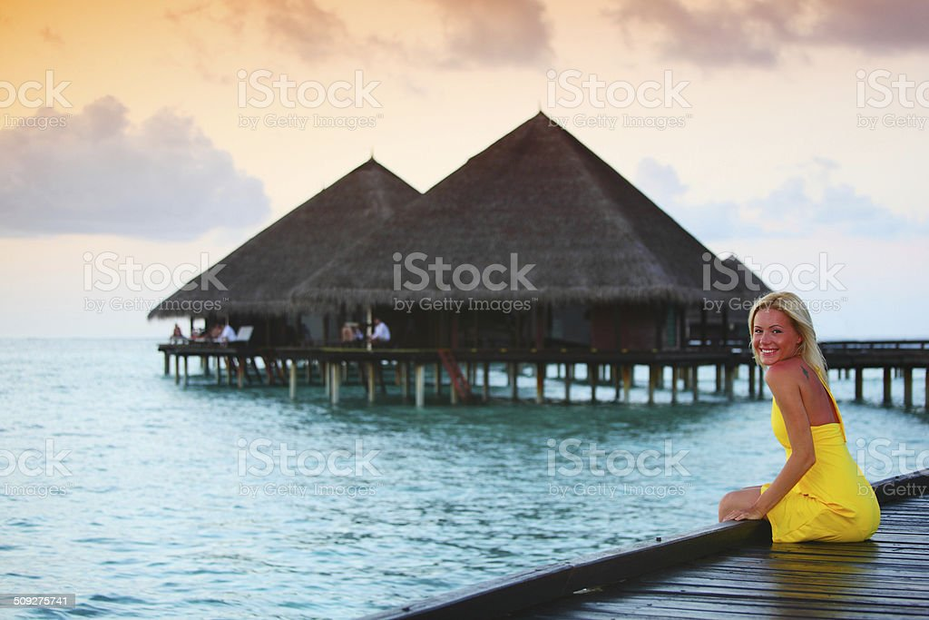 woman on tropical beach royalty-free stock photo