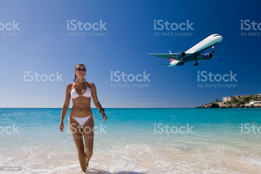 woman on vacation at Saint Martin beach royalty-free stock photo