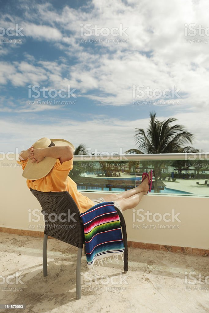 Woman on Vacation in Tropical Resort Hotel, Riviera Maya, Mexico royalty-free stock photo
