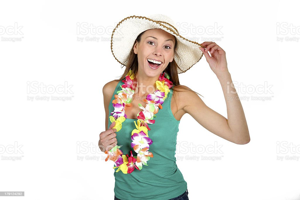 Woman on vacation with white background royalty-free stock photo
