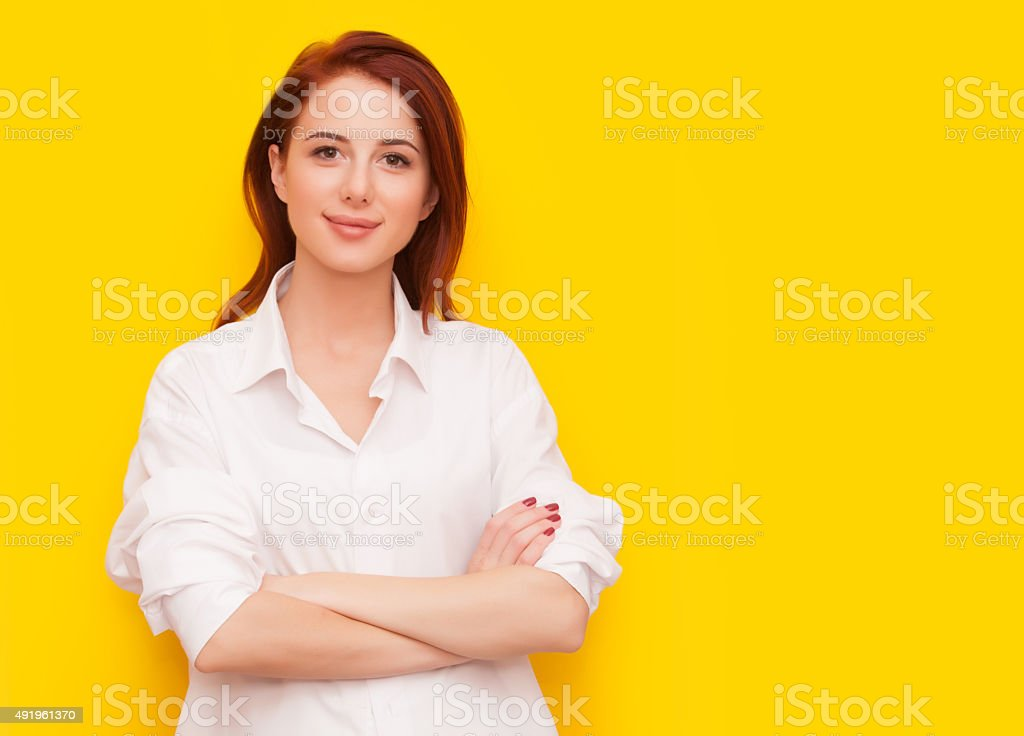 woman on yellow background stock photo