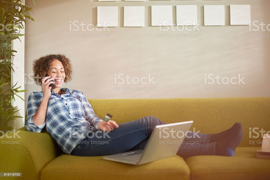 woman online shopping stock photo