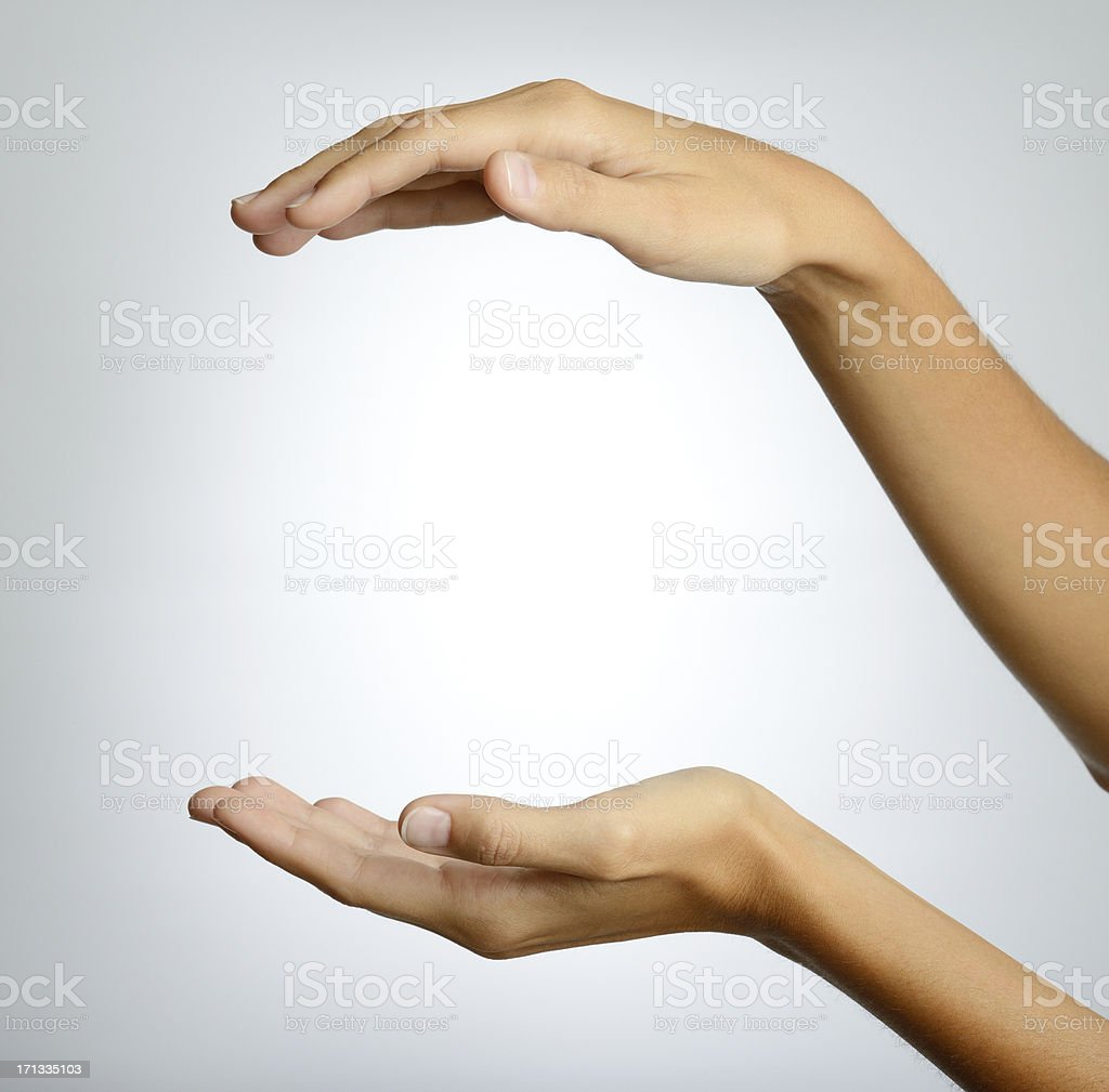 Woman open Hands, Presenting, Copy Space on White Background (XXXL) royalty-free stock photo