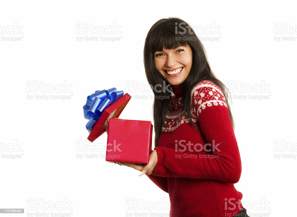 Woman opening gift box royalty-free stock photo