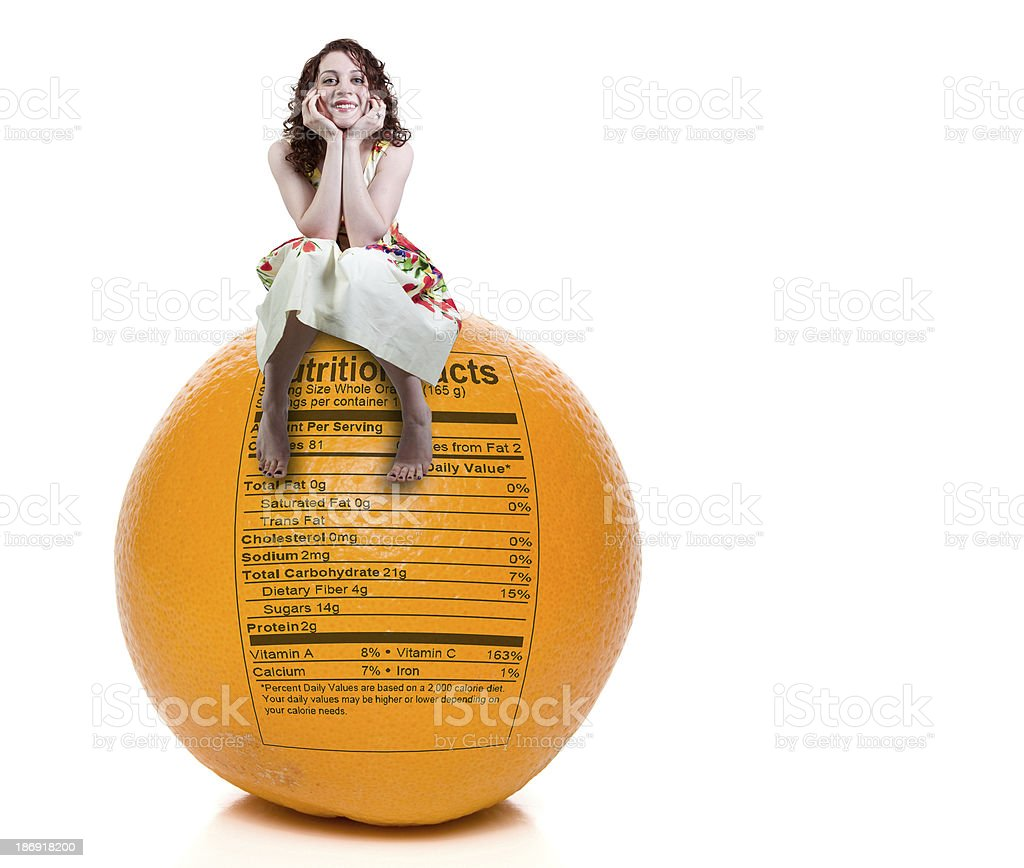 Woman Orange Nutrition Facts royalty-free stock photo