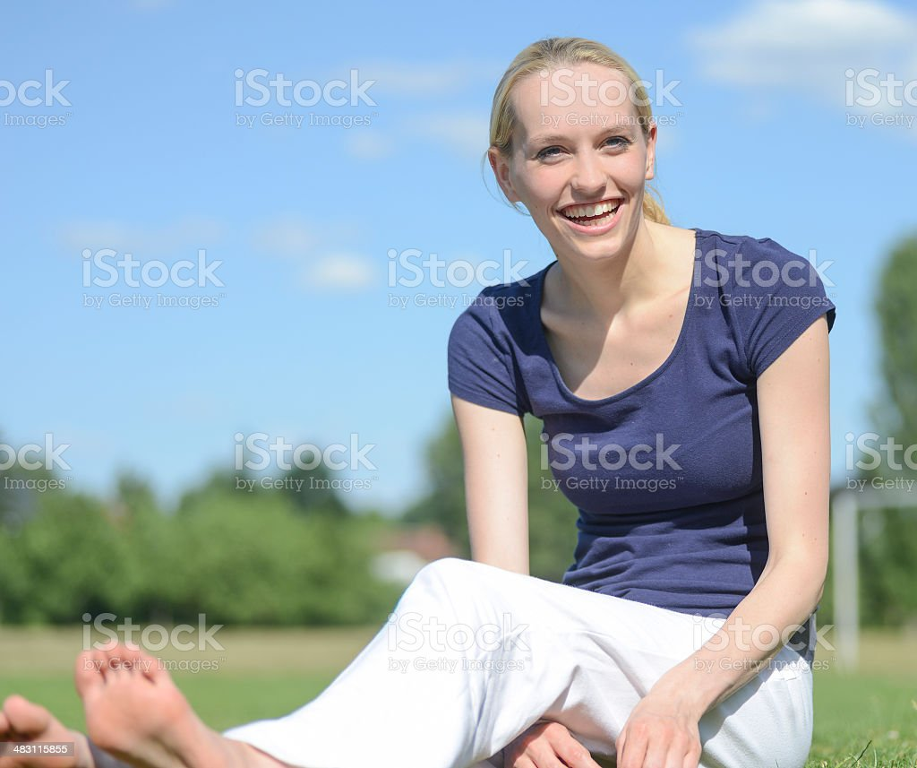 woman outdoor  in sun laughing stock photo