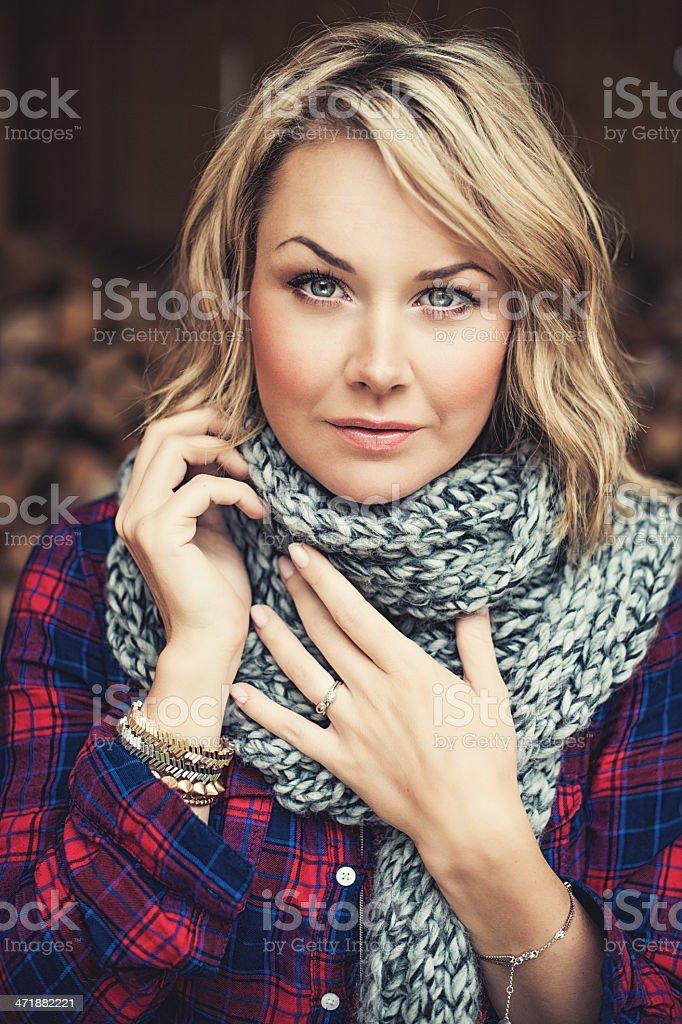 Woman outdoors at autumn stock photo