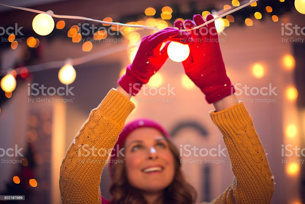 Woman outdoors at winter. stock photo