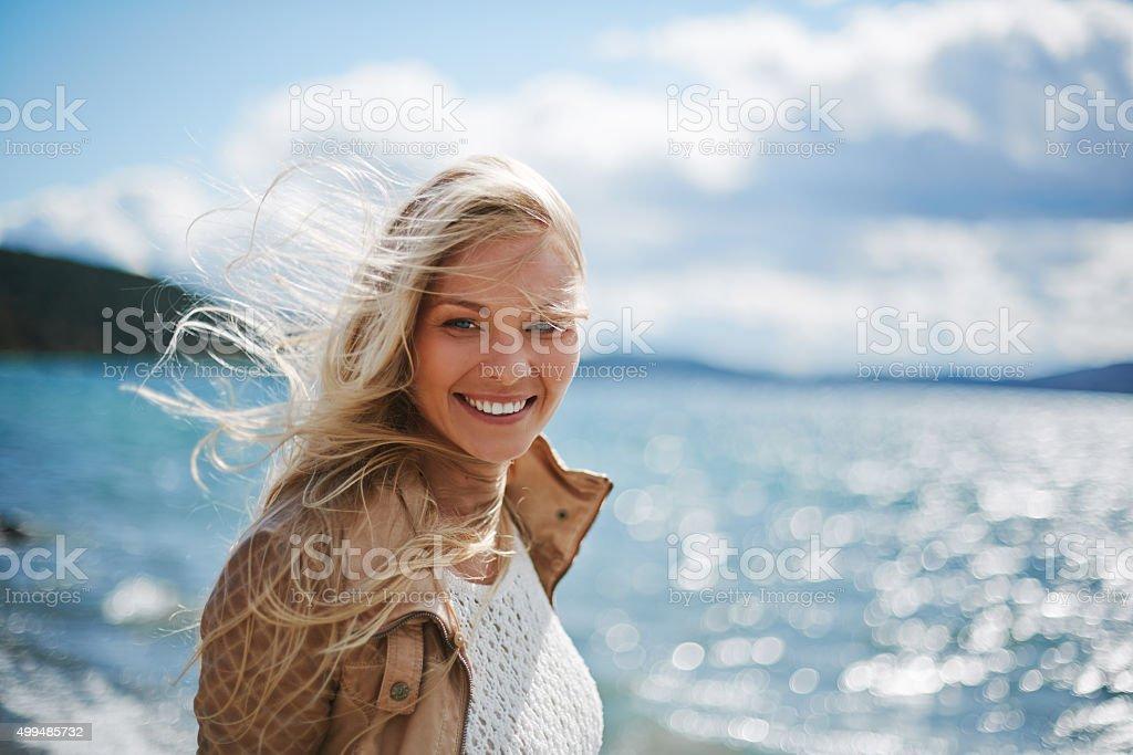 Woman outdoors stock photo