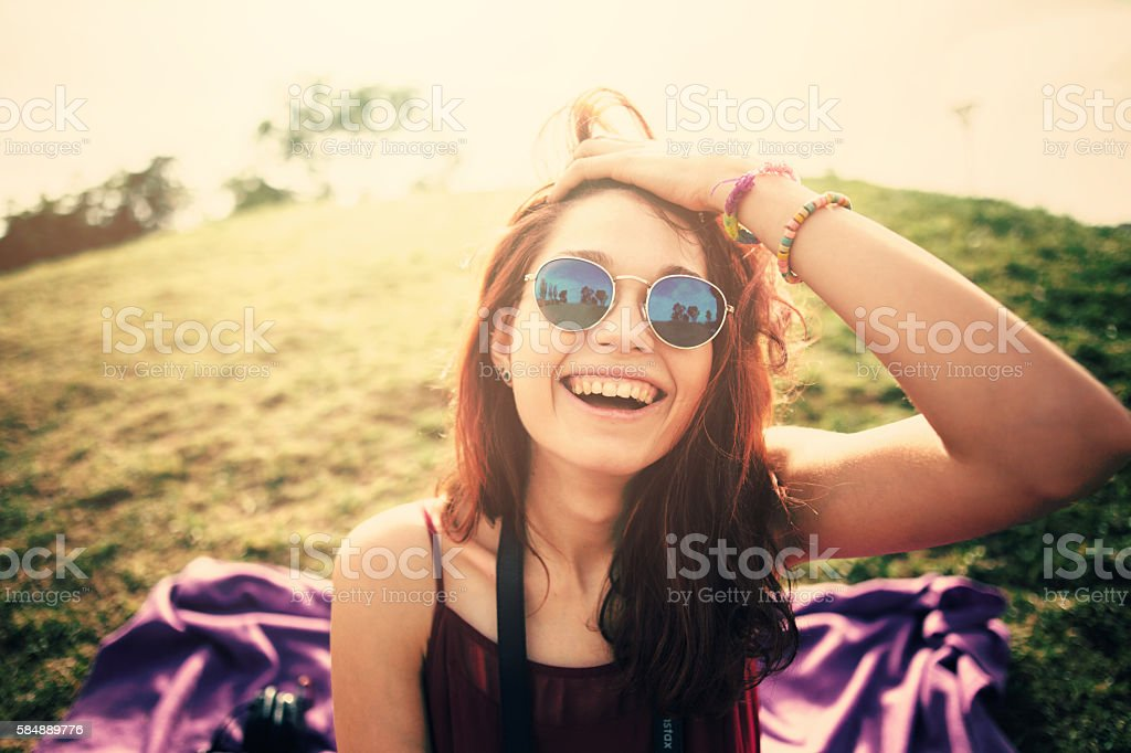 Woman Outdoors stock photo