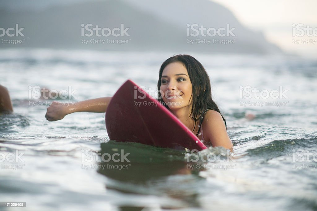 Woman Paddling in Water stock photo