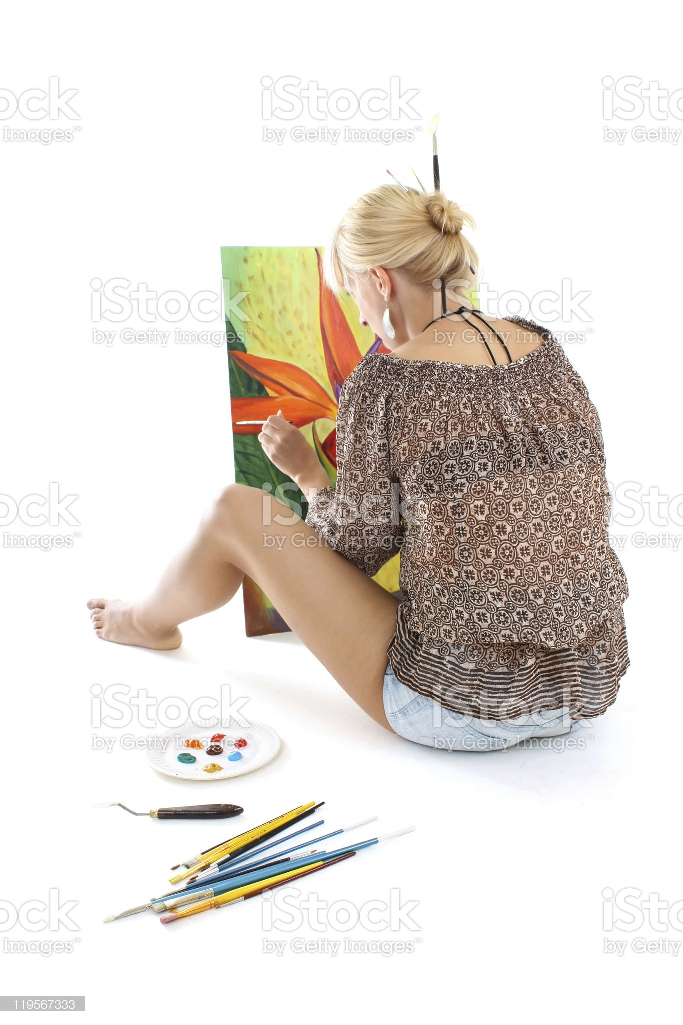 woman painting flower royalty-free stock photo