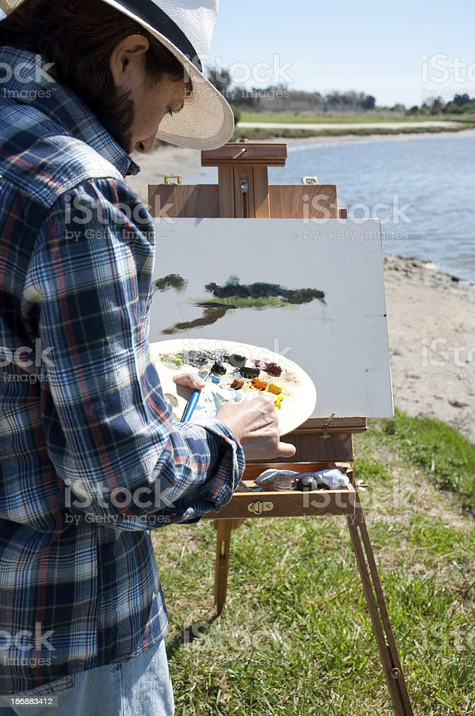 Woman painting royalty-free stock photo