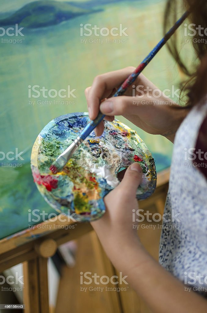 Woman painting stock photo