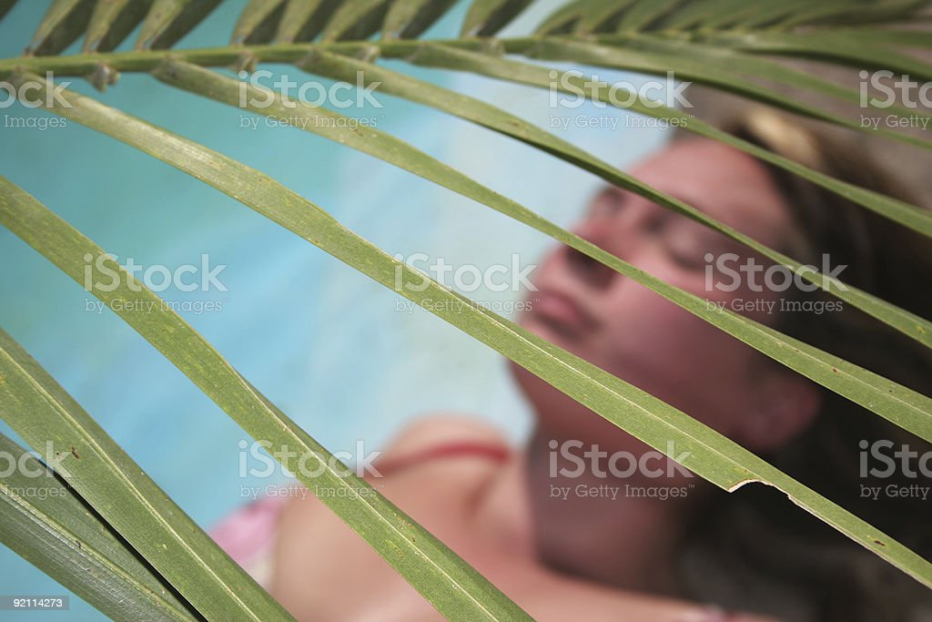 Woman Palm Frond royalty-free stock photo
