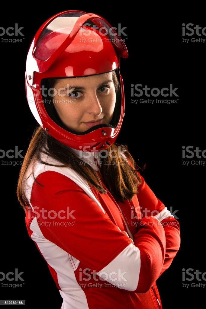 woman parachutist stock photo