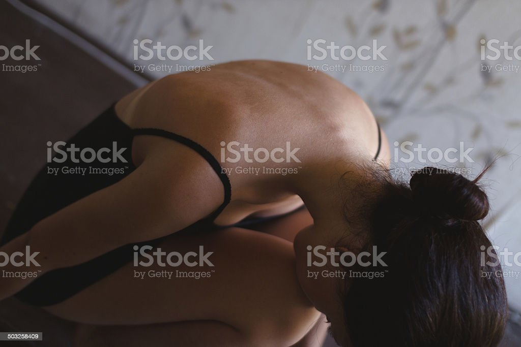 Woman part of neck and back stock photo