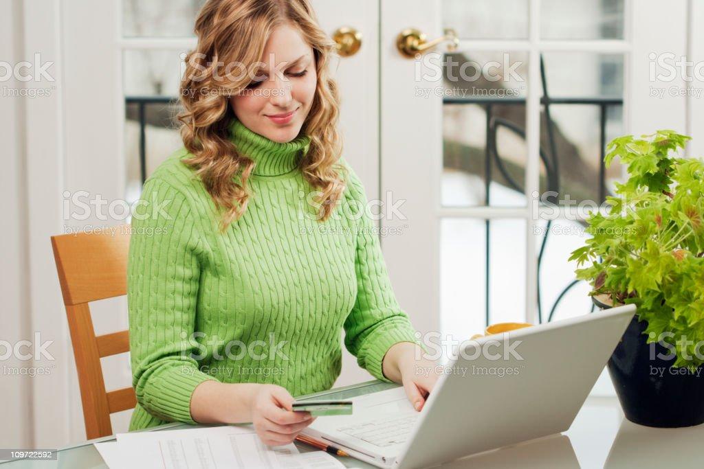 Woman Paying Credit Card Bills Online, Using Electronic Banking, Shopping royalty-free stock photo
