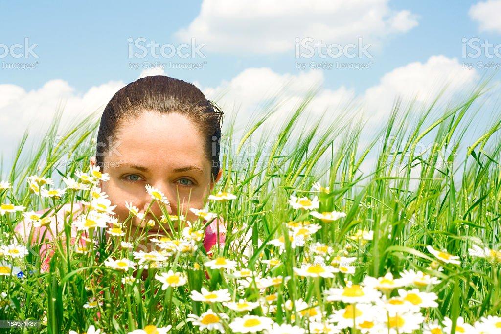 Woman Peeking royalty-free stock photo