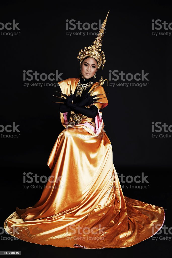 Woman performing contemporary thai dance art royalty-free stock photo