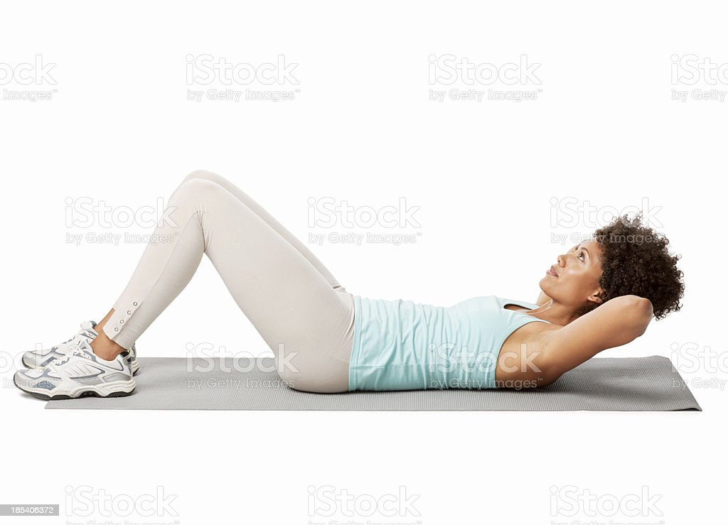 Woman Performing Crunches royalty-free stock photo