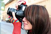 woman photographer close up