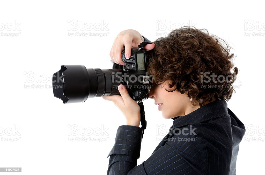 Woman photographer, side view, isolated on white royalty-free stock photo