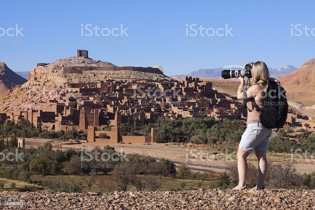 Woman Photographing Ait Benhaddou stock photo