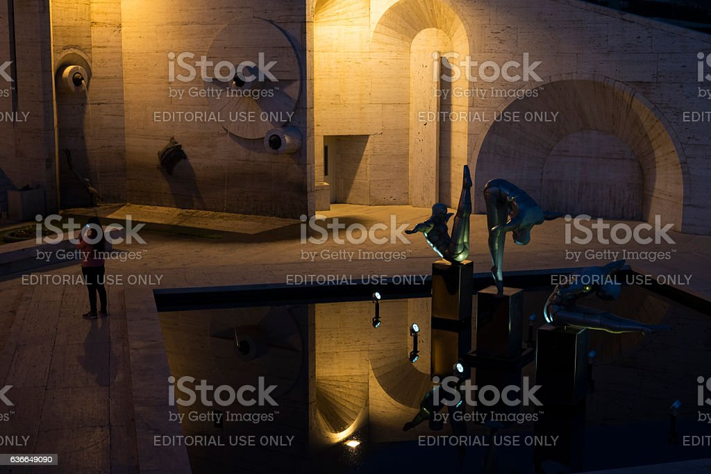 Woman photographing at Cascade in Yerevan, Armenia stock photo