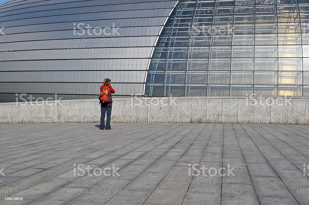 Woman Photographing Beijing Opera the Egg China royalty-free stock photo