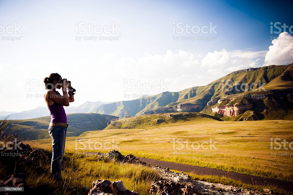 Woman Photographing Landscape at South African National Park stock photo