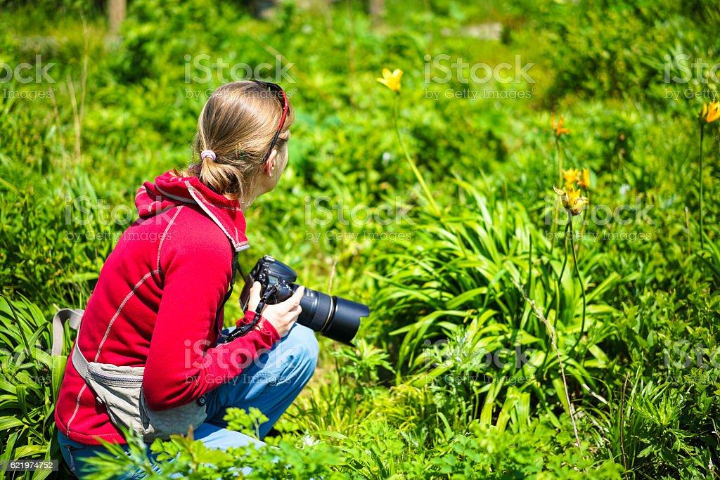 Woman photographing  on top of Orankoiwa rock in Utoro harbor stock photo