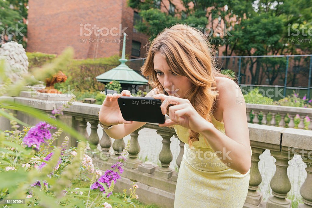 NYC Woman Photographs Flowers in Beautiful Urban Garden with Mobilephone stock photo