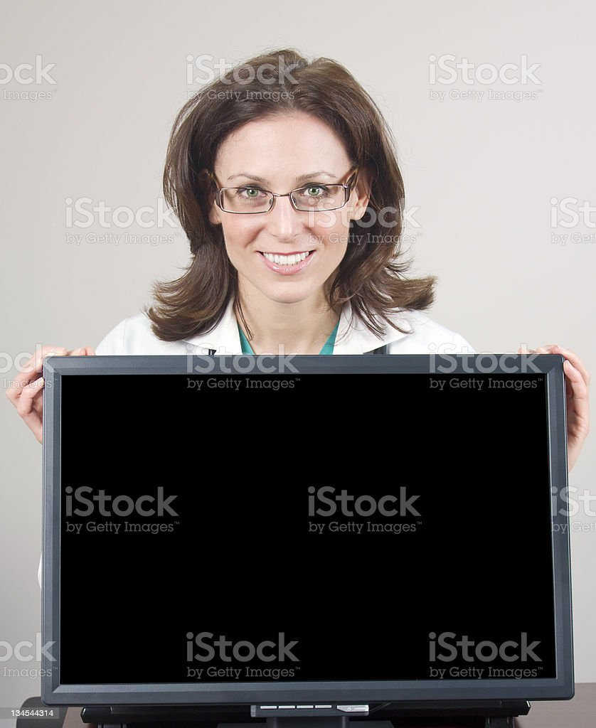 Woman Physician Computer Billboard royalty-free stock photo