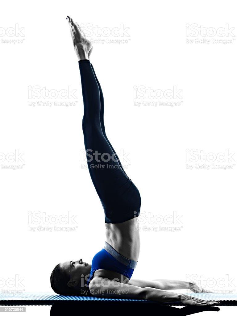 woman pilates exercises fitness isolated stock photo