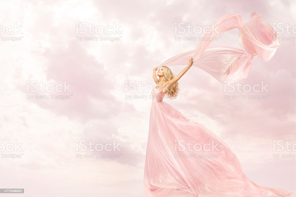 Woman Pink Long Dress, Girl with Flying Silk Scarf Cloth stock photo