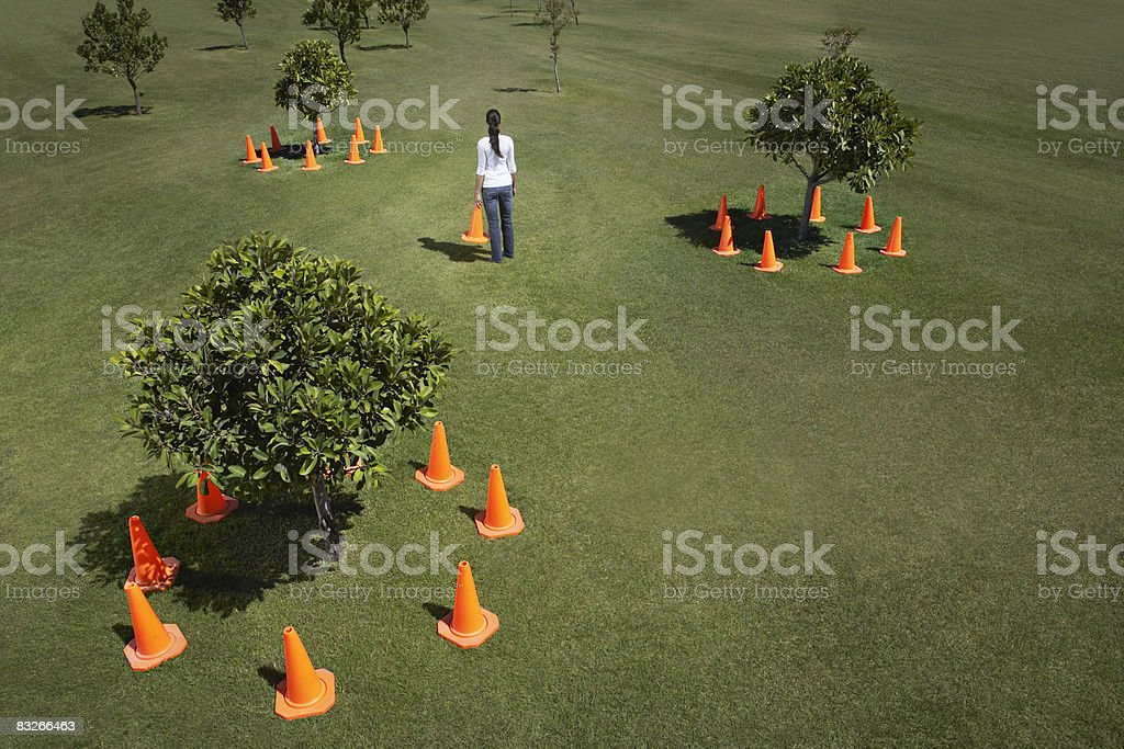 Woman placing traffic cones around trees in field royalty-free stock photo