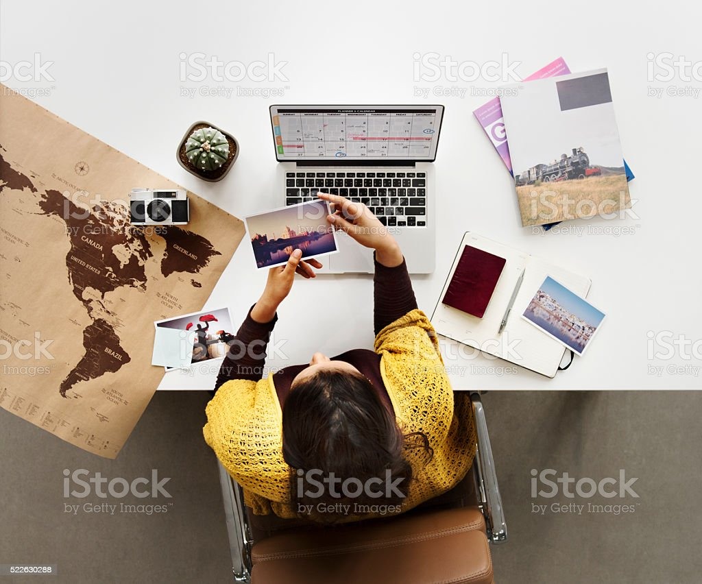 Woman Planning Schedule Trip Vacation Concept stock photo