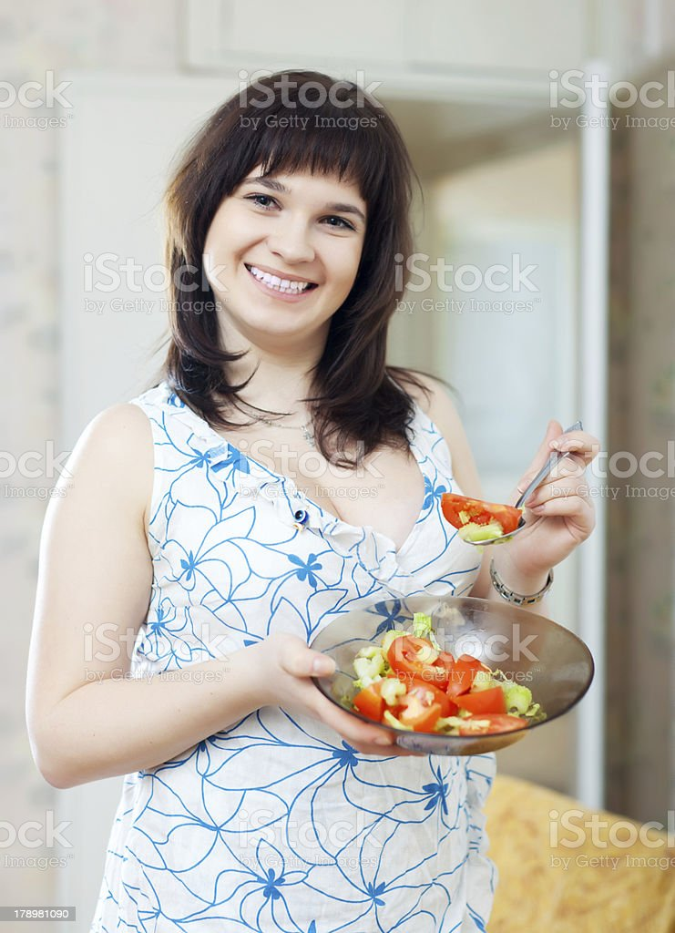 woman plate of  tomatoes salad royalty-free stock photo