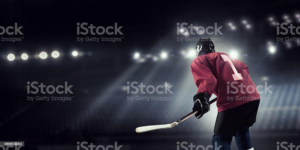 Woman play hockey  . Mixed media stock photo